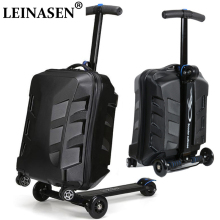 New Designe 22inch TSA Lock Scooter Luggage Aluminum Suitcase With Wheels Skateboard Rolling Luggage Travel Trolley Case 2017 shipping by ems pu trolley luggage trolley travel suitcase with trolleys luggage case rolling 22inch maletas mala de viagem