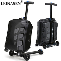 New Designe 22inch TSA Lock Scooter Luggage Aluminum Suitcase With Wheels Skateboard Rolling Luggage Travel Trolley Case