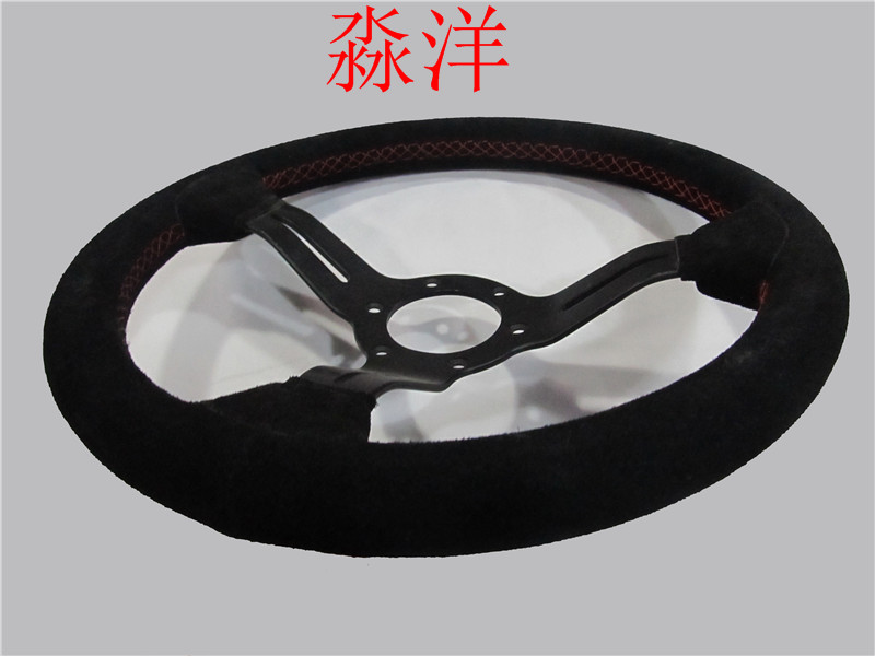 Car Styling 13/330mm Car Steering Wheel ND Real Leather Racing Drifting Tuning Steering-Wheel Red Stitching image