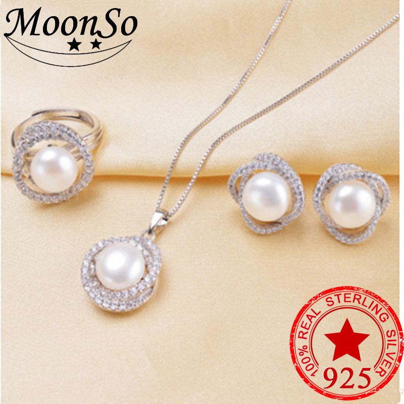 MoonsoNew Arrival! 925 Sterling Silver Jewelry Sets for Women Simulated Pearl Jewelry Wedding Stud Earrings and Necklace LJ1300S classical malachite green round shell simulated pearl abacus crystal 7 rows necklace earrings women ceremony jewelry set b1303