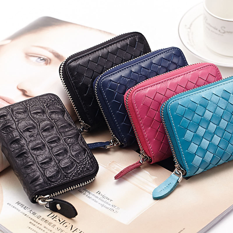 2016 New Genuine Leather Women Men Card Holder Card Wallet Purse Credit Card Business Card Holder Protector Organizer DC117