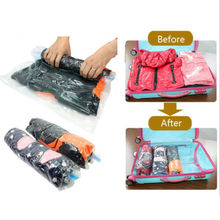 Vacuum Storage Bags HOT Roll-Up Clothes Bag Travel Compressed Saved Space Seal