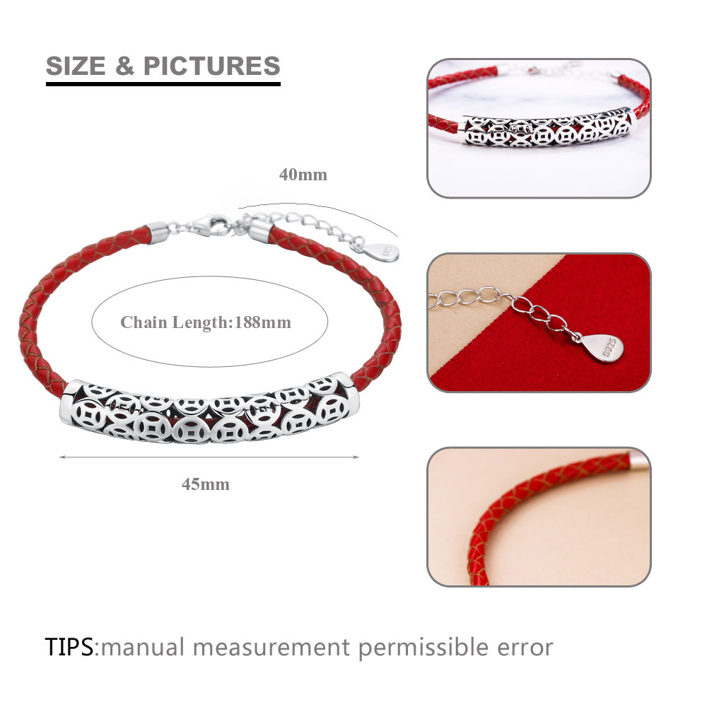 SA SILVERAGE 925 Sterling Silver Black Red Vintage Leather Bracelets Bangles For Women 925 Silver Chinese Coins Charm Bracelets in Bracelets Bangles from Jewelry Accessories