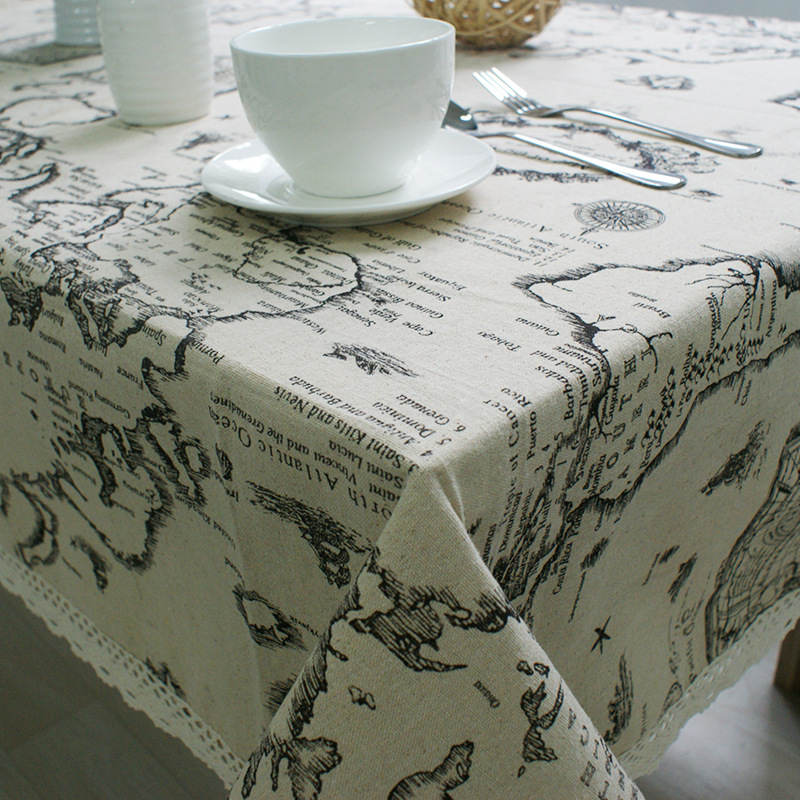 DHANXINZ World Map Print Cotton Linen Table Cloth Lace Flax Universal Tablecloth for Kitchen Restaurant Home Decor