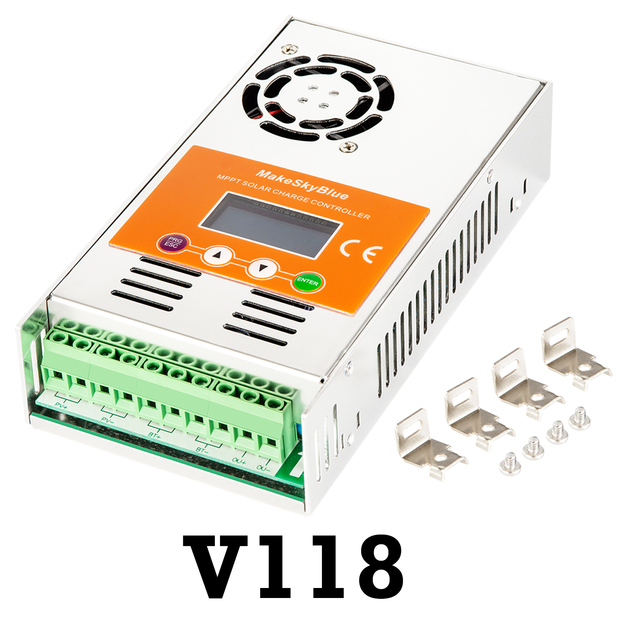 Makeblue controlador de carga solar mppt, controlador de carga solar mppt versão v118, 30a, 40a, 50a, 60a, display lcd para 12v, 24v, 36v regulador de bateria 48v dc