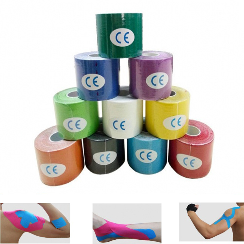 5m*5cm Sports Kinesiology Tape Roll Muscle Bandage Cotton Elastic Adhesive Strain Injury Sticker kinesio tape sporting goods 5cm 5m elastic bandage cotton adhesive kinesio tape sport injury muscle strain protection tape tape kinesiology for sport