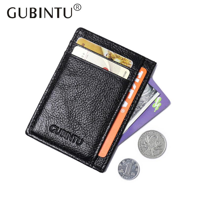 GUBINTU Brand Slim Man Genuine Cowhide Leather Male Credit Card Holders Thin Money Dollar Clip Wallet Purse ID Pocket for Men y zhuo brand soft genuine leather money clip with zipper coin pocket slim male wallet purse money dollar holder carteras for men