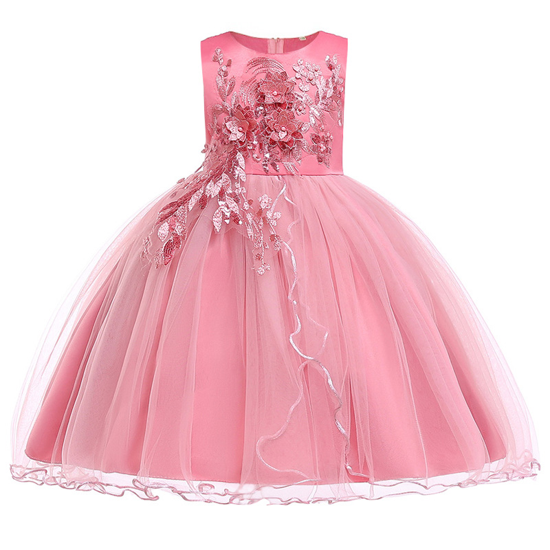 Girls  'birthday party embroidery performance singing dres, new Christmas party   dress   for Princess Peng Peng banquet in 2019