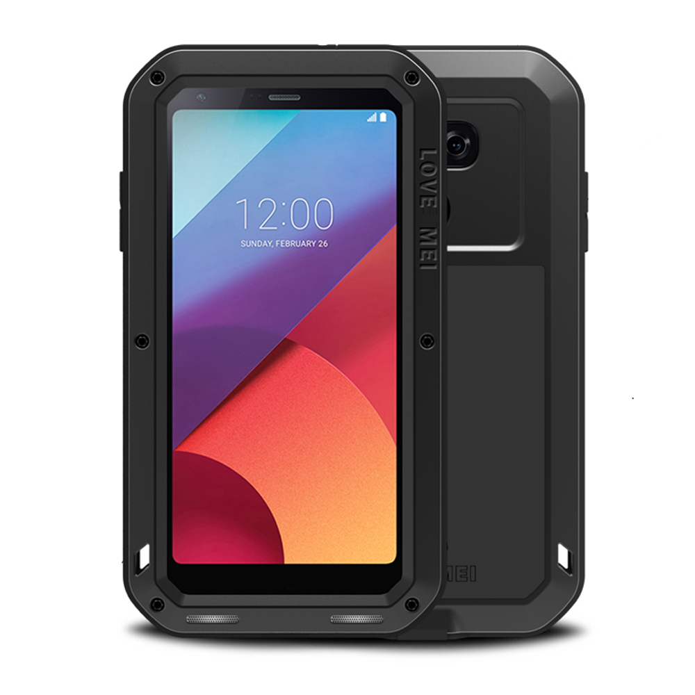 Love Mei Shockproof Waterproof Case for LG G6 Aluminum Metal Armor Case Cover for LG G6 Full Protection Tempered Glass Protector