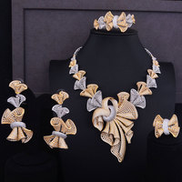 GODKI Luxury Super Big Bowknots Women Nigerian Wedding Bride Cubic Zirconia Necklace Dubai 4PCS Jewelry Set Jewellery Addiction