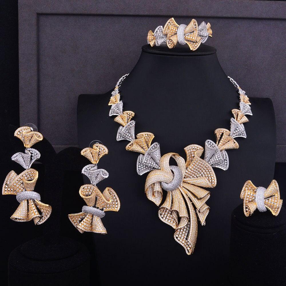 GODKI Luxus Super Große Bowknots Frauen Nigerianischen Hochzeit Braut Zirkonia Halskette Dubai 4 STÜCKE Schmuck Set Schmuck Sucht-in Schmucksets aus Schmuck und Accessoires bei  Gruppe 1