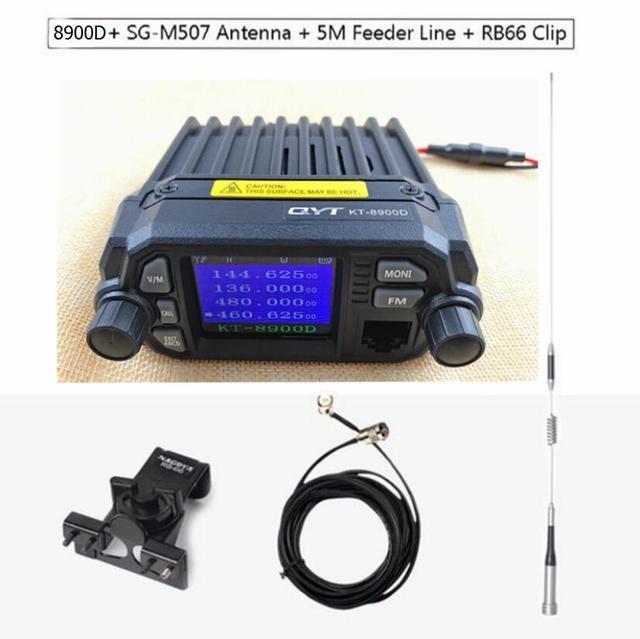 QYT transceptor de Radio KT 8900D para coche, 136 ~ 174/400 ~ 480MHz, transceptor móvil con pantalla de quad band, 25W + antena