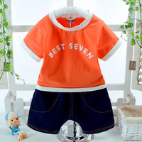Summer Fashion Baby Boys Clothes Sets Cotton Letter Short Sleeves T Shirts Shorts 2 PCS Baby