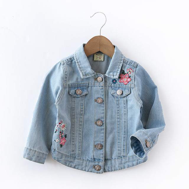 786cce1bf Baby Girls Denim abrigos Vintage Jeans chaquetas para niña niño Denim  Chaquetas infantil Jean Rosa flor
