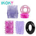 IKOKY 5Pieces/Set Penis Rings Erotic Foreskin Delay Ejaculation Penis Enlargement Sleeve Sex Toys For Men Male Cock Ring