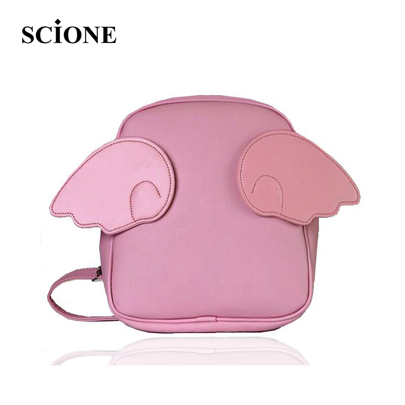 2017 Famous Brand Angel Wings Backpacks Fashion Cute Lovely Small Bags Backpack Sweet Wind Cartoon Leather