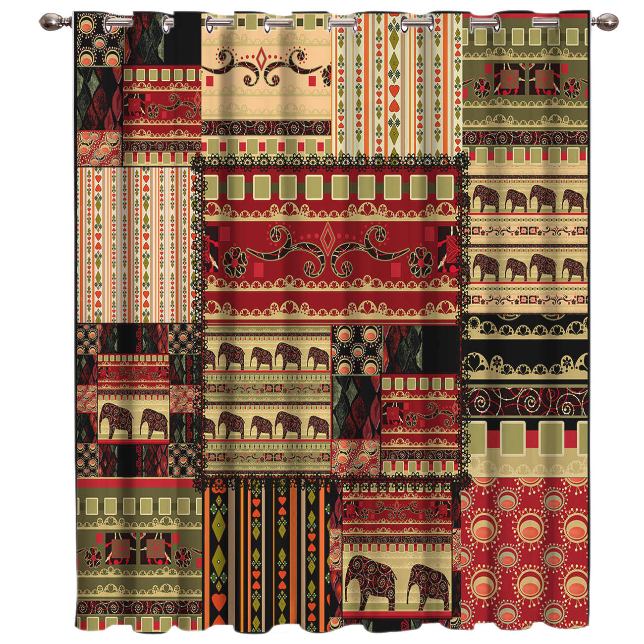 Africa Indian Elephant Window Curtains Dark Curtain Lights Living Room Curtains Outdoor Indoor Fabric Drapes Swag Curtain Panels