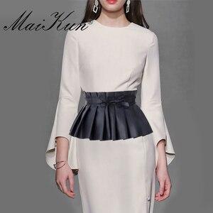 Image 5 - Pleated Dress Bandage 여성용 와이드 벨트 Faux Leather Elastic 허리띠 우아한 Lotus Leaf 하이 웨이스트 벨트 거들 여성