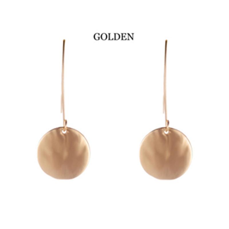New Fashion Jewelry Simple Gold Earrings for women Round Pendants Big Hook Statement Earrings for Women Brincos 2018 in Drop Earrings from Jewelry Accessories