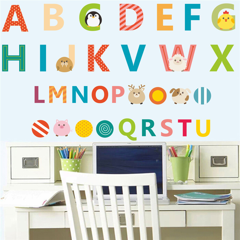 Cartoon animals 26 english letters alphabet wall stickers for Decorative letters for kids room