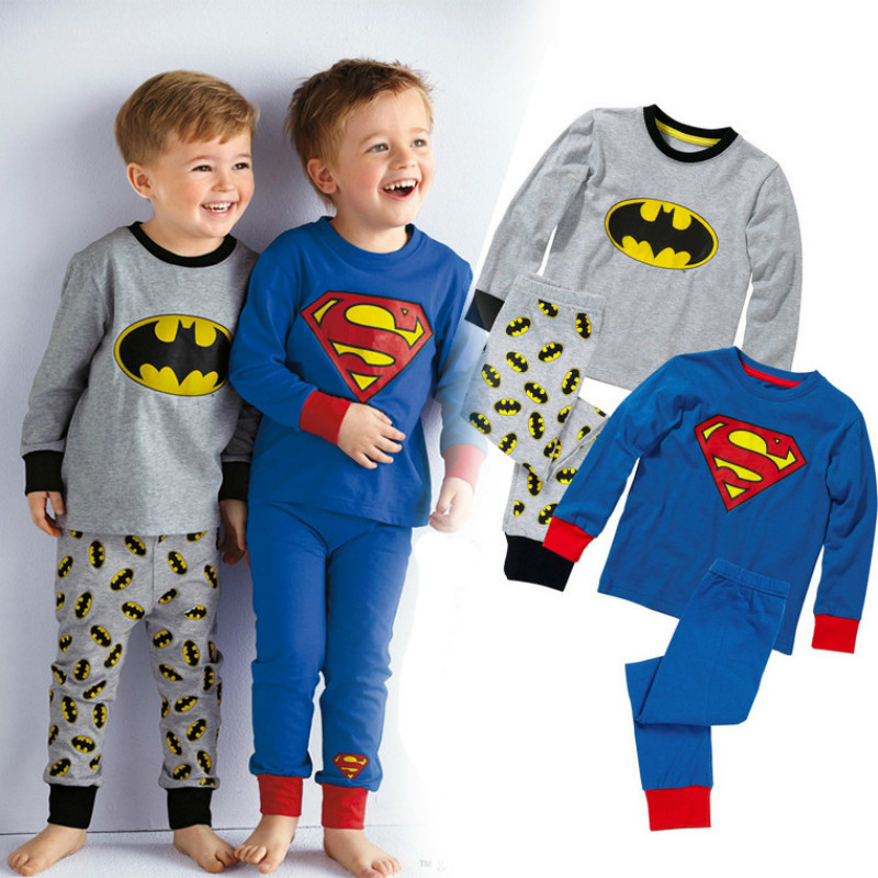 Autumn Kids Cartoon Clothes Sets For Boys Girls Superman batman Pattern Long Sleeve T Shirts + Pants Children Cotton Clothing
