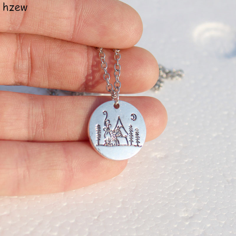 hzew Lover Gift Live the simple life mountain necklace nature pendant necklace Moon forest mountain house necklaces ...