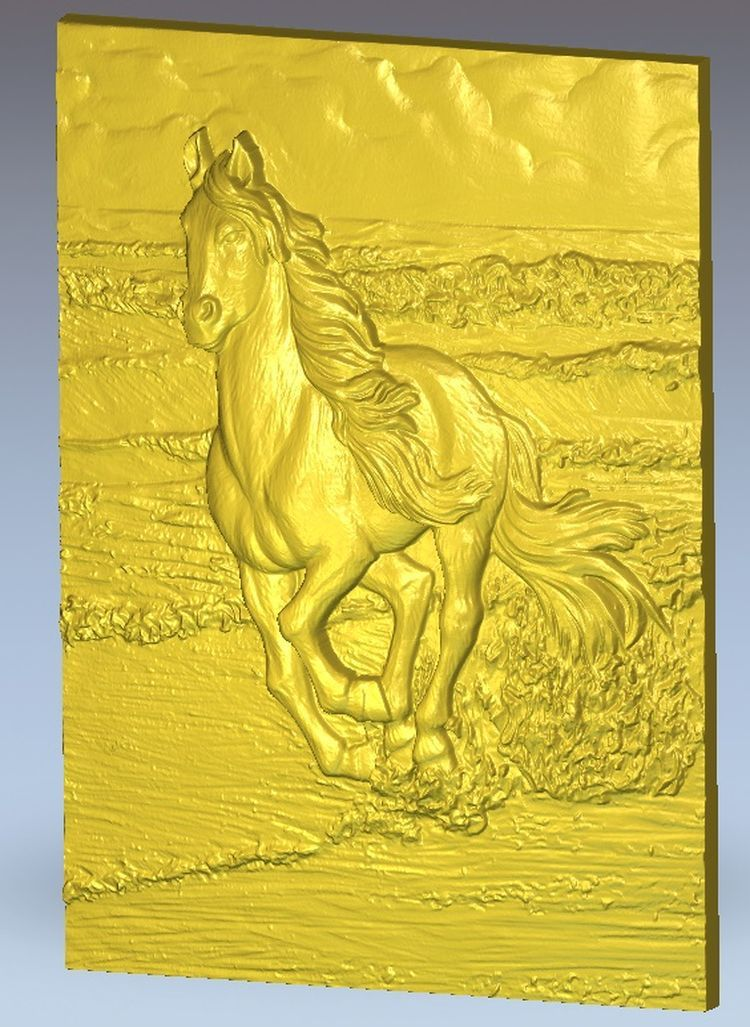 horse_15 relief for cnc in STL file format artcam model 3d panno hunting 2 for cnc in stl file format 3d model relief
