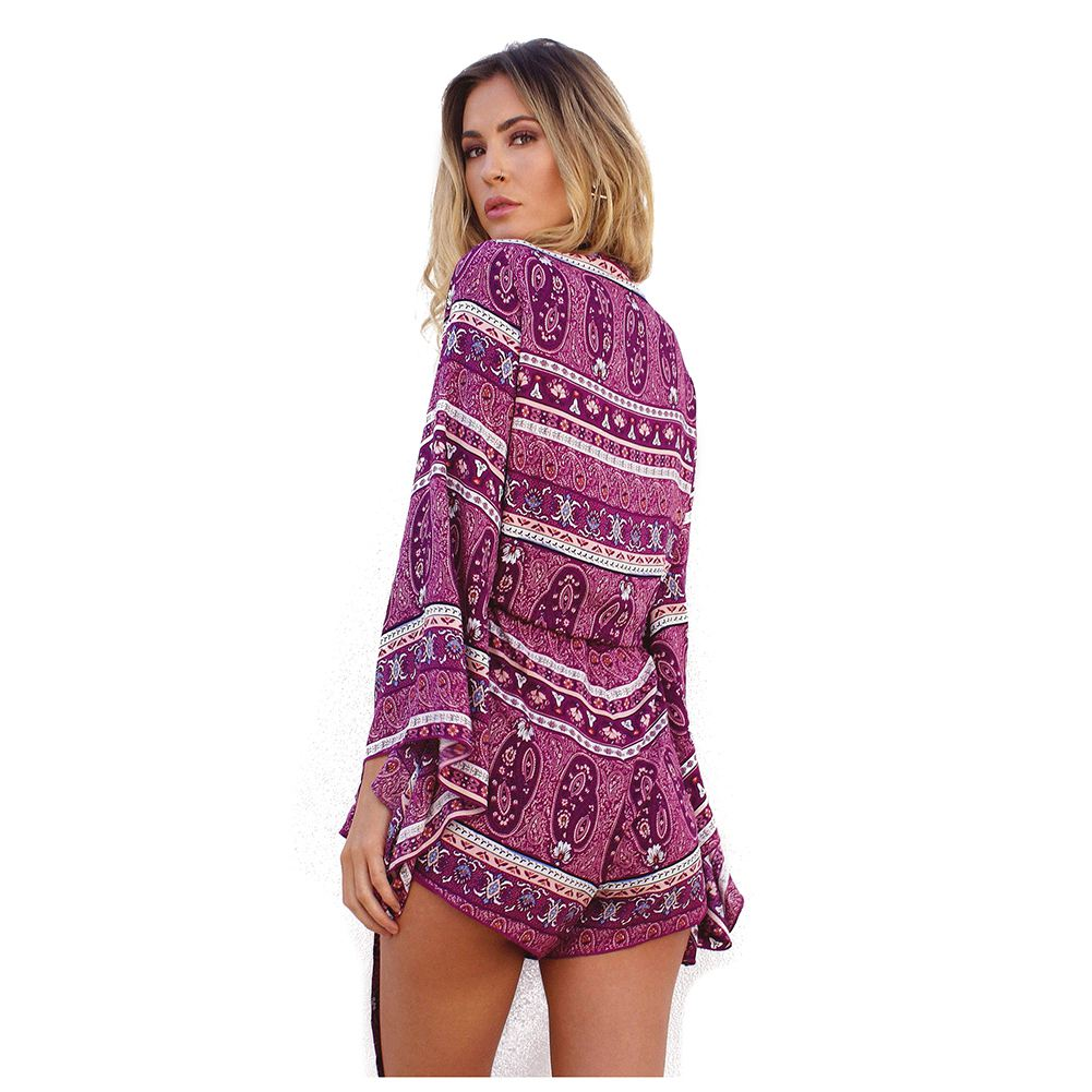 Rompers Womens Jumpsuit Sexy Deep V Neck Long Sleeve Ruffled Vintage Print Bodysuit Casual Beach Playsuit
