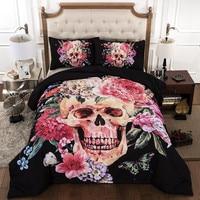 3Pcs Skull Beding Set Fashion 3Pcsinclude 2Pillowcase Duvet Cover Pillow Case 19 X29 48cmx74cm Bedding Set