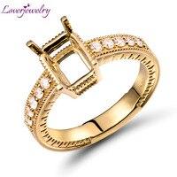 Полный Разрез Алмазный Обручение параметры заготовки кольца 6x8 мм Изумрудное кольцо крепления 750 желтого золота свадебные украшения SR00116
