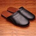 Color sólido de Cuero Genuino Pareja de Primavera/Otoño Zapatillas de Interior Antideslizante Cómodo y Cálido Hogar Zapatos para los hombres y Las Mujeres