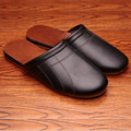 Solid Color Genuine Leather Couple's Spring/Autumn Indoor Slippers Anti-Slip Comfortable and Warm Home Shoes for Men&Women