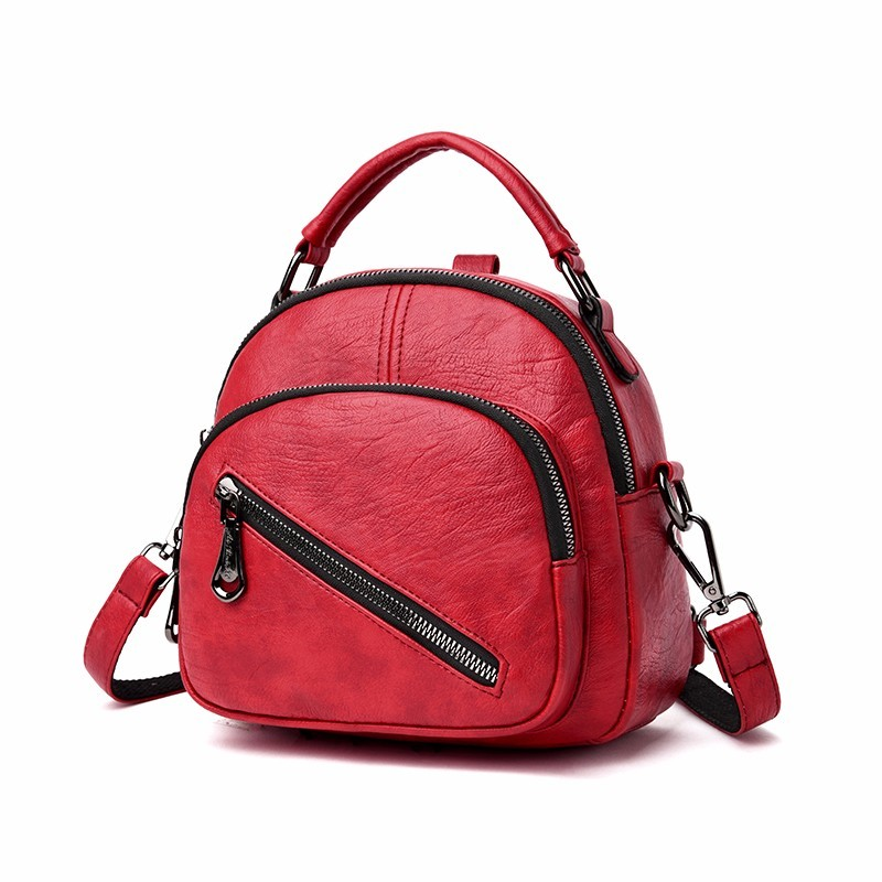 Women Leather Backpacks High Quality Ladies Bagpack Vintage Sac A Dos Multifunction Backpack For Girls Small Back Pack Solid
