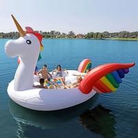 2019 Горячая продажа 6 человек огромный Единорог плавающий для бассейна гигантский надувной Единорог бассейн остров гостиная для бассейна ве