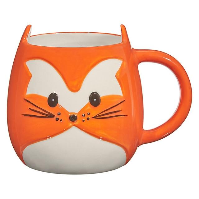 Novelty Design 3D Fox Ceramic Coffee Mug For Given Funny Milk Mugs Animal Lover Gift Stoneware Orange Mug Best funny gift