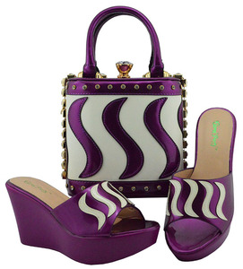 Image 3 - Matching Shoes and Bag Set Gold Color Italian Ladies Shoe and Bag Set Decorated with Rhinestone African Party Shoes MD005