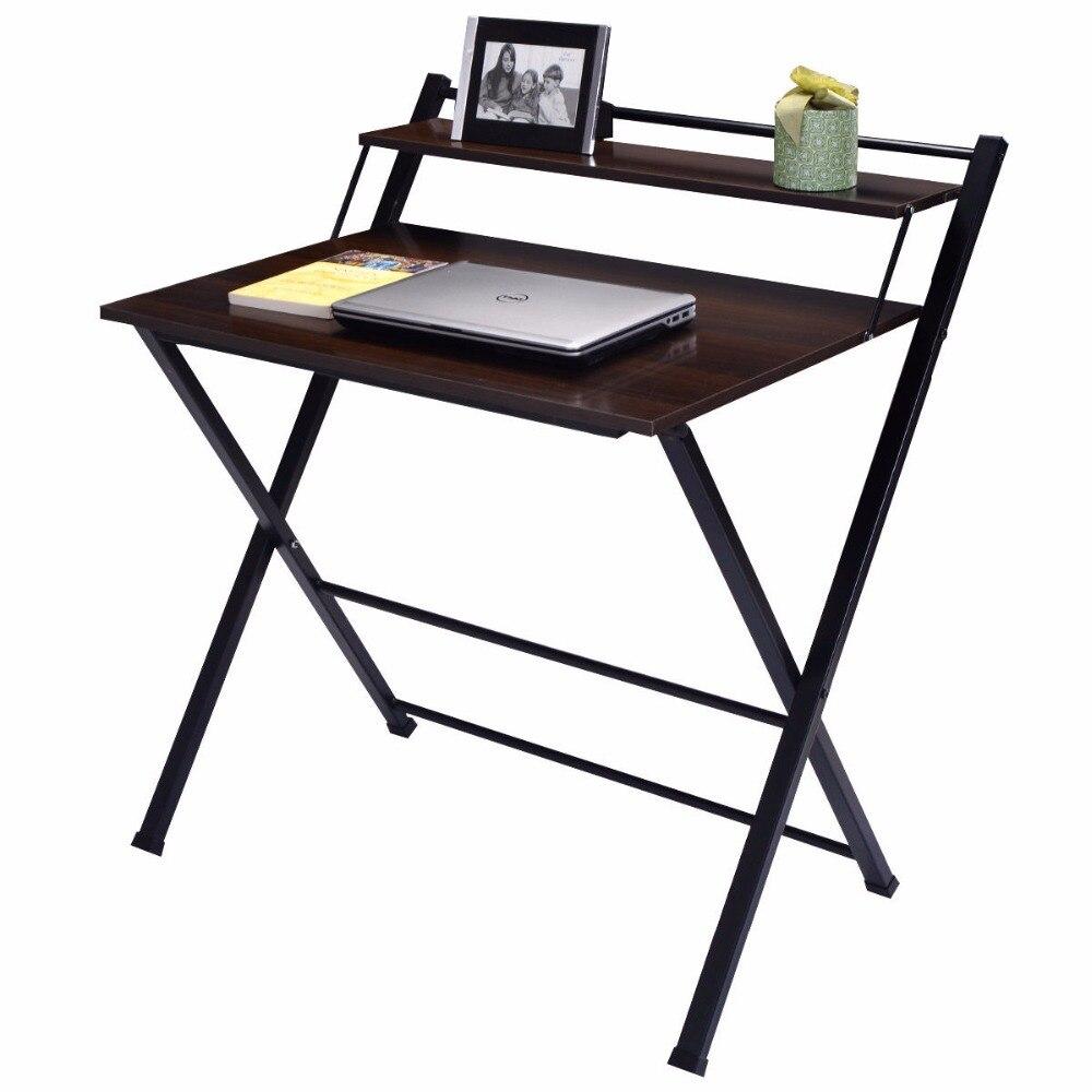 Giantex 2 уровня-складной стол компьютера Офисная мебель современные деревянные рабочей станции стол складной исследование PC Подставки для но...