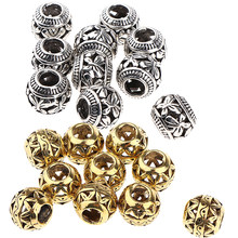 Lots 20 Viking Beads Pirate Metal Cuffs for Hair/Dreadlock/Beards/Wigs Braiding, Jewelry Making, Hair Accessories, Hippie Style(China)