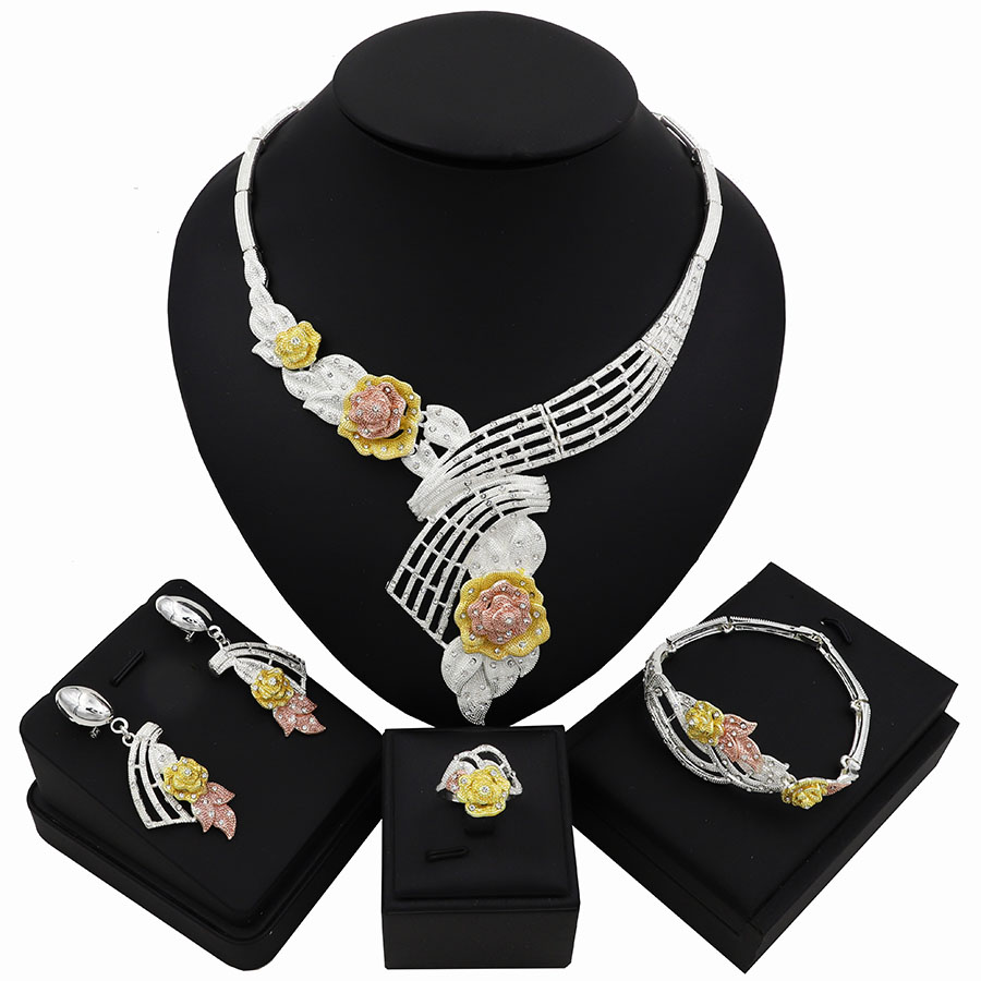 TSROUND Gold Color Rose Flower Necklace Dubai Bridal Wedding Jewelry Sets for Women Italy Fashion New Arrival Design