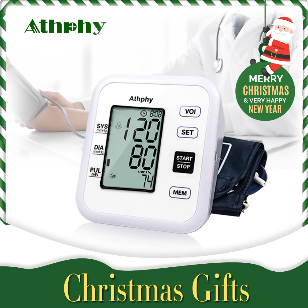 Athphy Misuratore Digitale di Pressione Sanguigna Monitor LCD Braccio Battito Cardiaco Test Tonometro Misura Automatica Meter Hot Salute e Bellezza Commercio All'ingrosso