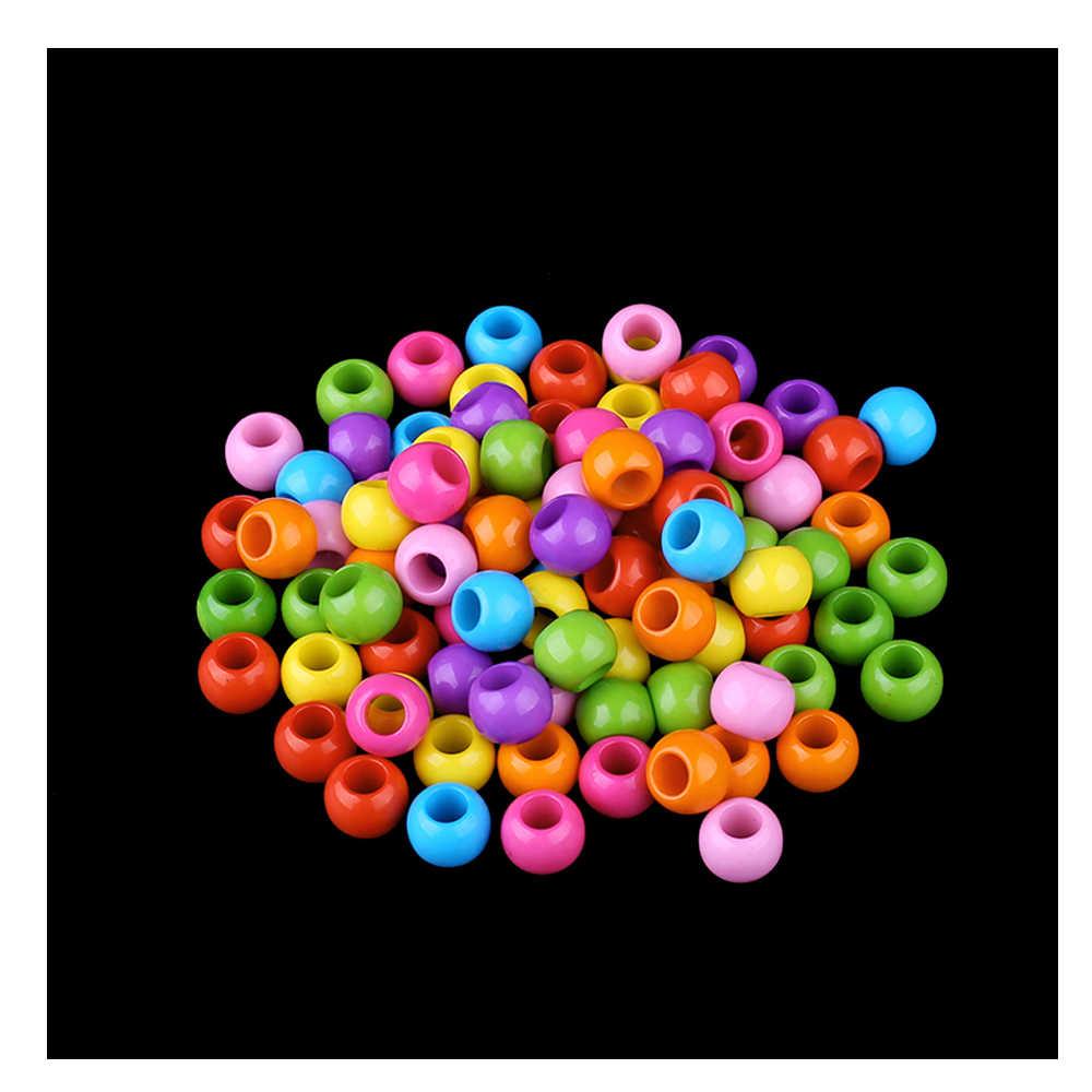 80 adet/grup Çok Renkli Akrilik Büyük Delik Yuvarlak Boncuk DIY Aksesuarları Avrupa plastik ara parça Boncuk Çocuk Takı Yapımı