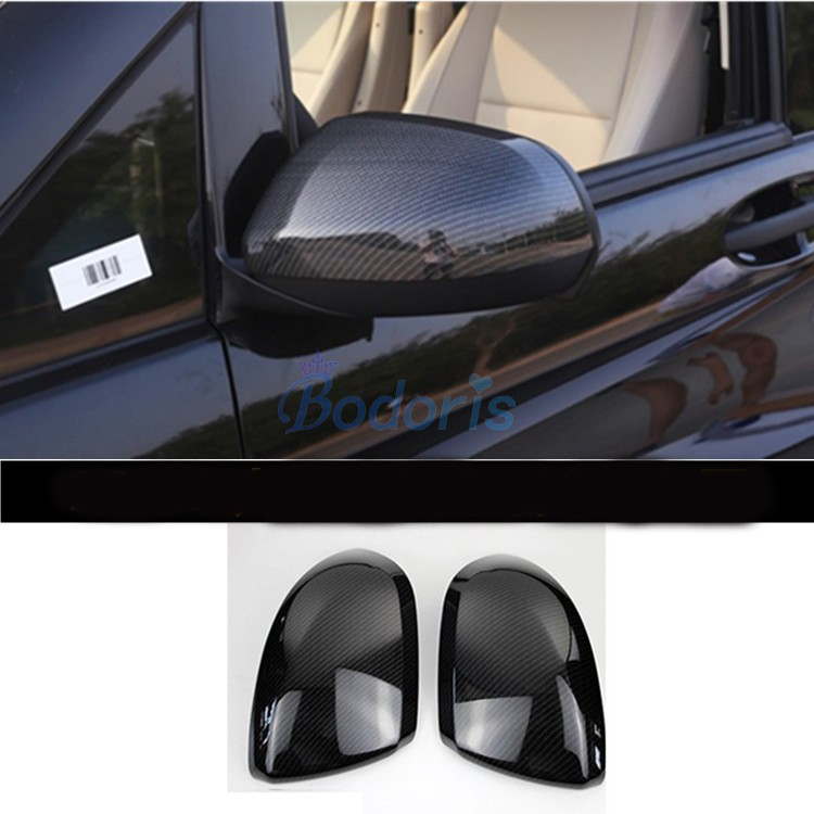 Carbon Fiber Color Door Mirror Cover Rear View Overlay 2014 2018 For Mercedes Benz Vito Valente