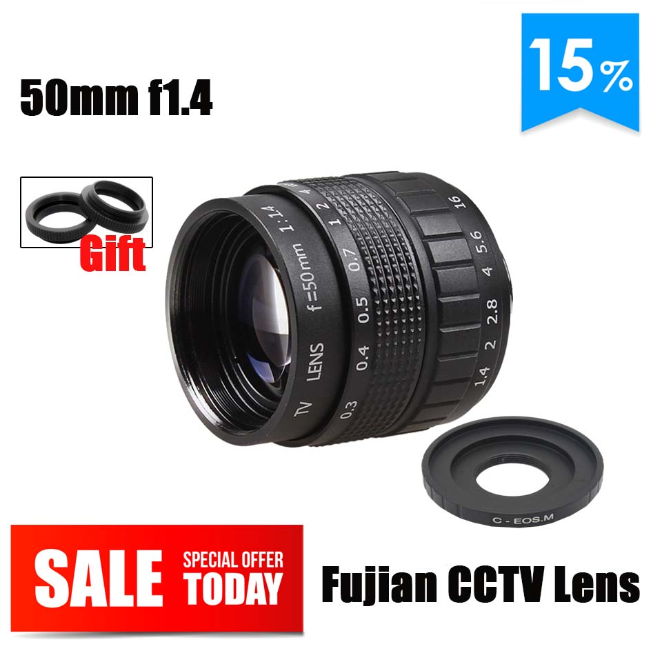 Fujian 50mm F1.4 CCTV lens C Mount Adapter Macro Ring for Canon EOS M M2 M3 M5 M10 Mirrorless Camera C-EOS M C-EOS.M Camera lens image
