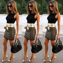 2017 New Fashion Womens Sexy Printing Dress Slim Sleeveless Tie Waist Vestidos Bodycon Cocktail Party Mini Dress With One Belt(China)