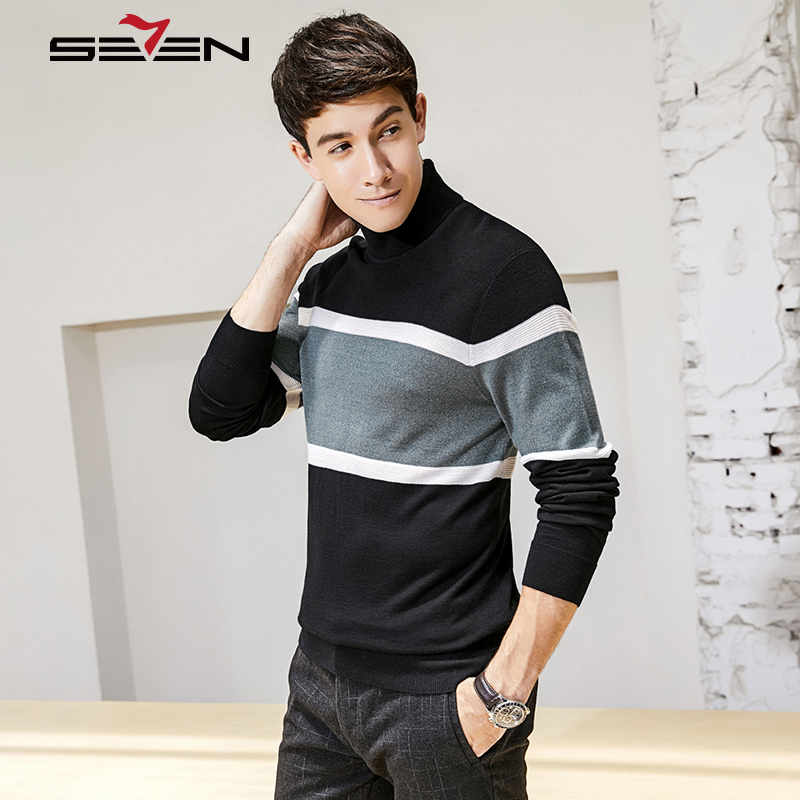 Seven7 Striped Turtleneck Sweater Men Plus Size Contrast Color Winter Thick Warm Cashmere Mens Slim Fit Wool Pullover 113Y68160