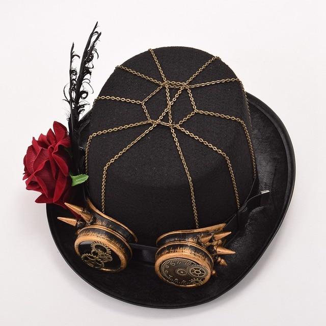 Шляпа в стиле стимпанк с очками в ассортименте вариант 5 5