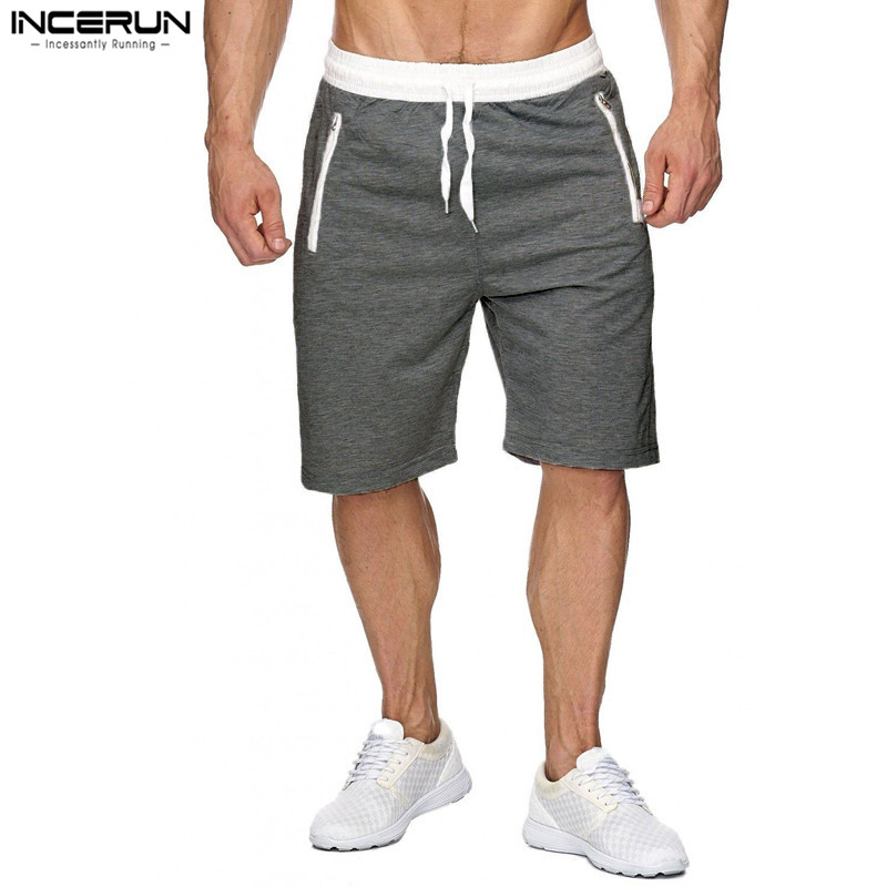 INCERUN Summer Casual Men Shorts Male Sweatpants Fitness Joggers Short Gyms With Zipper Pockets Men Bodybuilding Shorts Brand