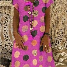 2019 new V-neck short-sleeved printed dot fashion dress womens clothing