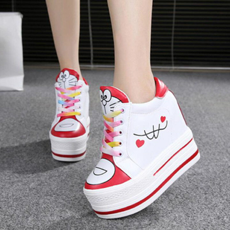 WGZNYN Women Sneakers Spring Autumn High Heels Ladies Casual Shoes Women Wedges Platform Shoes Female Thick Bottom Trainers W405