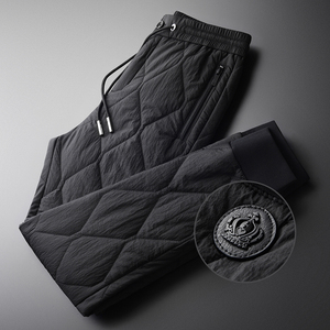 Image 1 - Minglu Inverno Pantaloni da Uomo di Lusso Aggiungere Imbottitura Spesso Tenere in Caldo Pantaloni Degli Uomini Più Il Formato 4xl Moda Elastico in Vita Degli Uomini di Autunno di Pantaloni